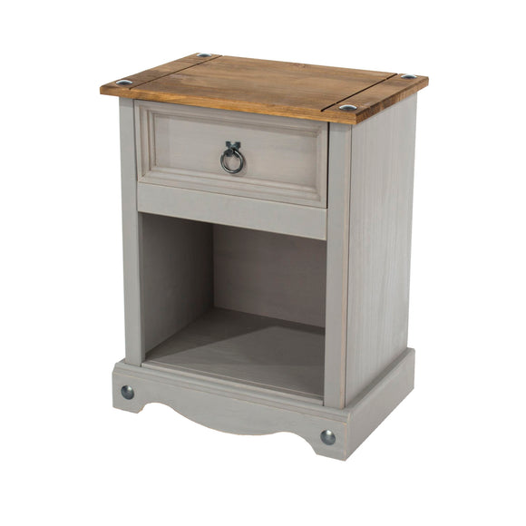 Corona Grey Washed Pine 1 drawer bedside cabinet