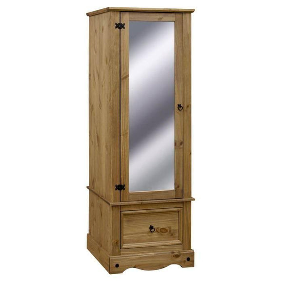 Corona Mexican Pine   Single Mirror 1 Drawer Wardrobe