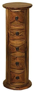 Jali Indian Rosewood 5 Drawer Round Chest