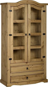 Corona Mexican Pine   Glazed Display Cabinet 2 Door 2 Drawer