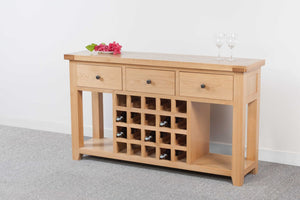 Devonshire Oak  3 Drawer Console Table with Wine Rack
