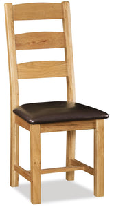 Manor Oak Slatted Chair With Pu Seat