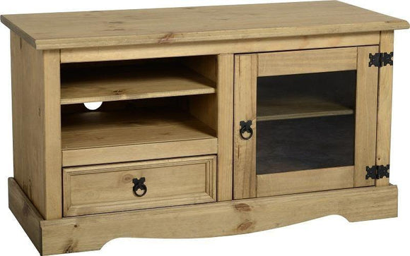 Corona Mexican Pine   TV Unit with Glass Door