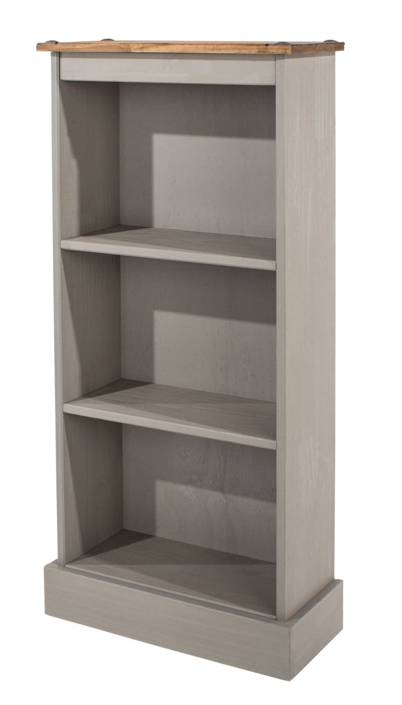 Corona Grey Washed Pine Low Narrow Bookcase