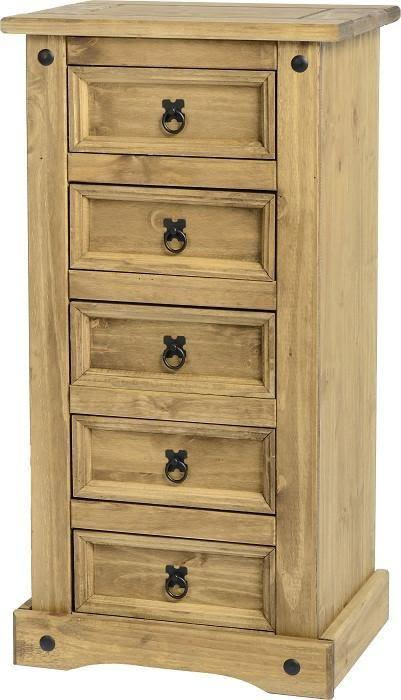 Corona Mexican Pine   5 Drawer Narrow Chest