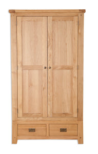 Canberra Oak Double Wardrobe - Natural Finish