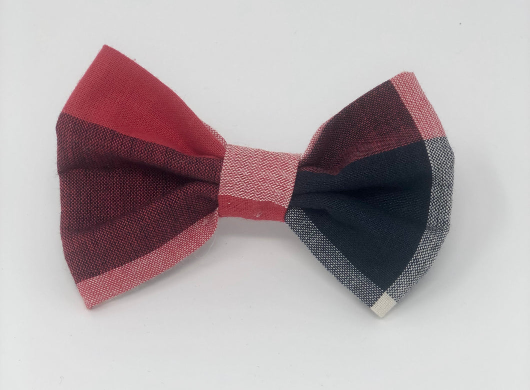 Red and Blue Plaid Pet Bow Tie