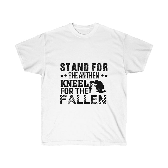 Stand For The Anthem Kneel For The Fallen - White Tee - sociallion
