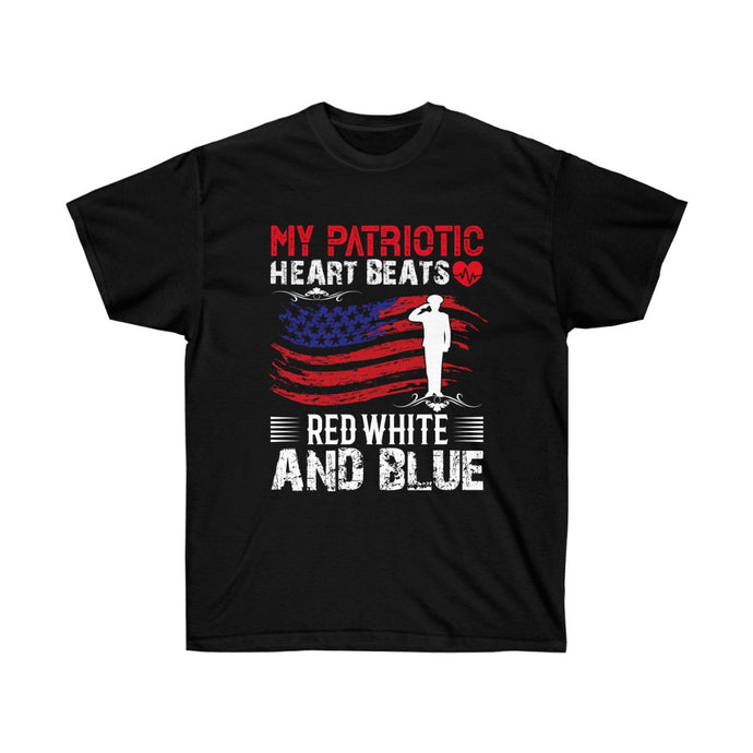 My Patriotic Heart Beats Red, White And Blue - Black Tee - sociallion