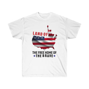 Land Of The Free Home Of The Brave - White Tshirt - sociallion