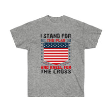Load image into Gallery viewer, I Stand For The Flag And Kneel For The Cross - White Tee - sociallion