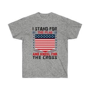 I Stand For The Flag And Kneel For The Cross - White Tee - sociallion