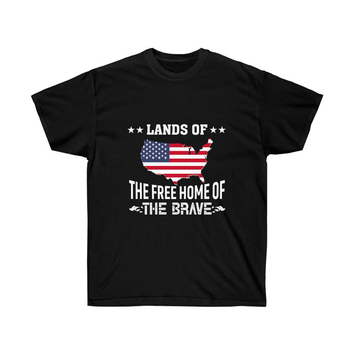 Lands Of The Free Home Of The Brave - Black Tshirt - sociallion