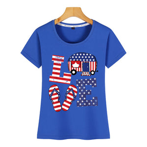 Women Love USA Flag Tshirt - Lifestyle Products & Family Shop