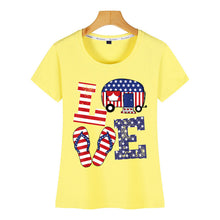 Load image into Gallery viewer, Women Love USA Flag Tshirt - Lifestyle Products & Family Shop