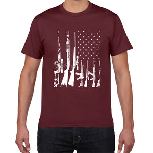 American Flag Machine Guns T Shirt - Lifestyle Products & Family Shop