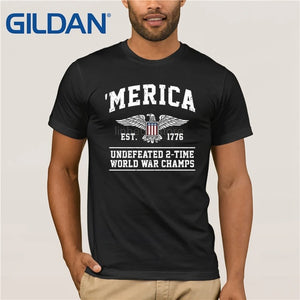 Merica est. 1776 Undefeated 2-time World War Champs T-Shirt - Lifestyle Products & Family Shop