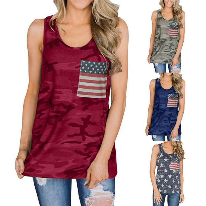 American Flag Patch Pocket Camouflage Top - Lifestyle Products & Family Shop
