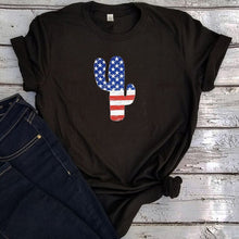 Load image into Gallery viewer, Cactus USA Flag Vintage Women Tshirt - Lifestyle Products & Family Shop