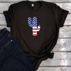 Cactus USA Flag Vintage Women Tshirt - Lifestyle Products & Family Shop