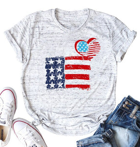 America Flag Print Short Sleeve T-shirt - Lifestyle Products & Family Shop