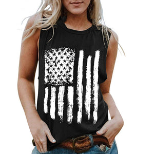 American Flag Printed Female O-neck Tank - Lifestyle Products & Family Shop