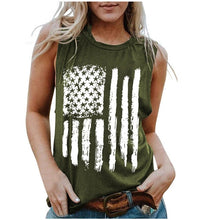 Load image into Gallery viewer, American Flag Printed Female O-neck Tank - Lifestyle Products & Family Shop