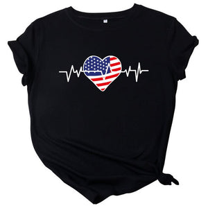 USA Flag Love Printed Female Tees - Lifestyle Products & Family Shop