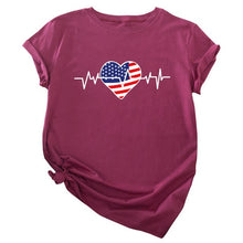Load image into Gallery viewer, USA Flag Love Printed Female Tees - Lifestyle Products & Family Shop