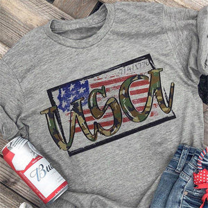 Camouflage USA Letter American Flag Tshirt - Lifestyle Products & Family Shop