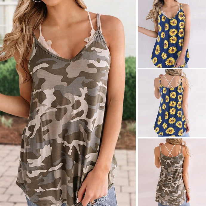 Camouflage V-Neck Strap Tops - Lifestyle Products & Family Shop