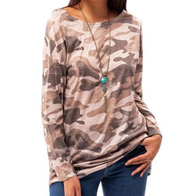 Load image into Gallery viewer, Womens Round Neck Casual Camouflage Print Long Sleeve T-Shirt - Lifestyle Products & Family Shop