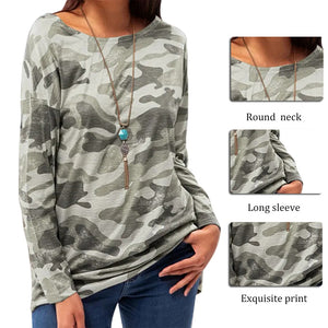 Womens Round Neck Casual Camouflage Print Long Sleeve T-Shirt - Lifestyle Products & Family Shop