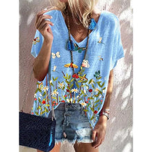 Load image into Gallery viewer, Summer Floral Print Short Sleeve Loose Top - sociallion