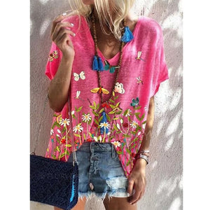 Summer Floral Print Short Sleeve Loose Top - sociallion