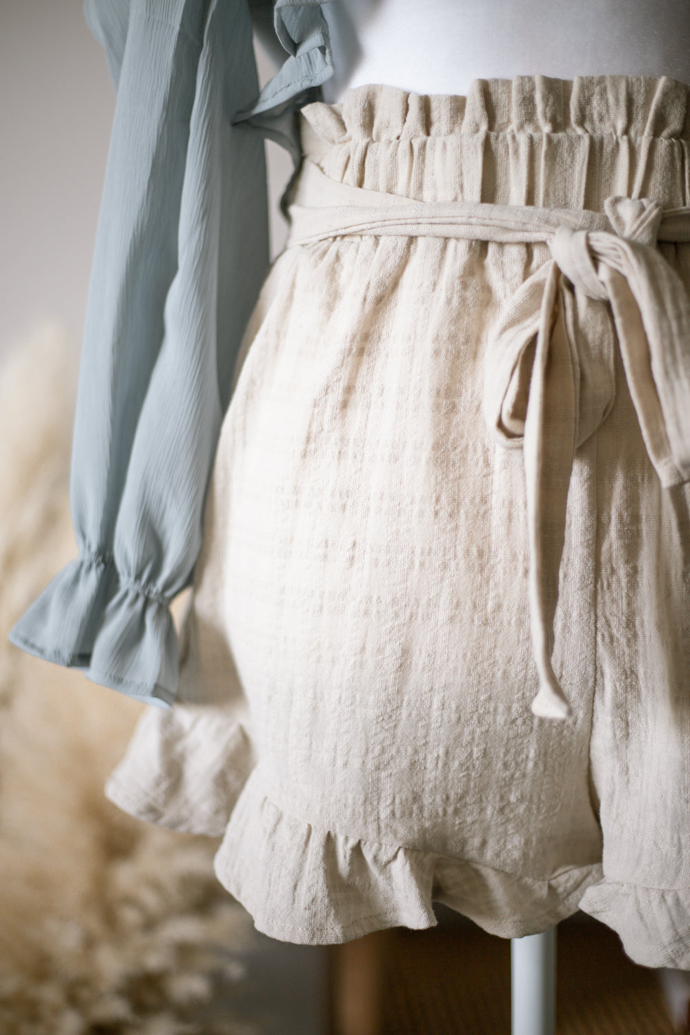 Beige Ruffle Paperbag Shorts