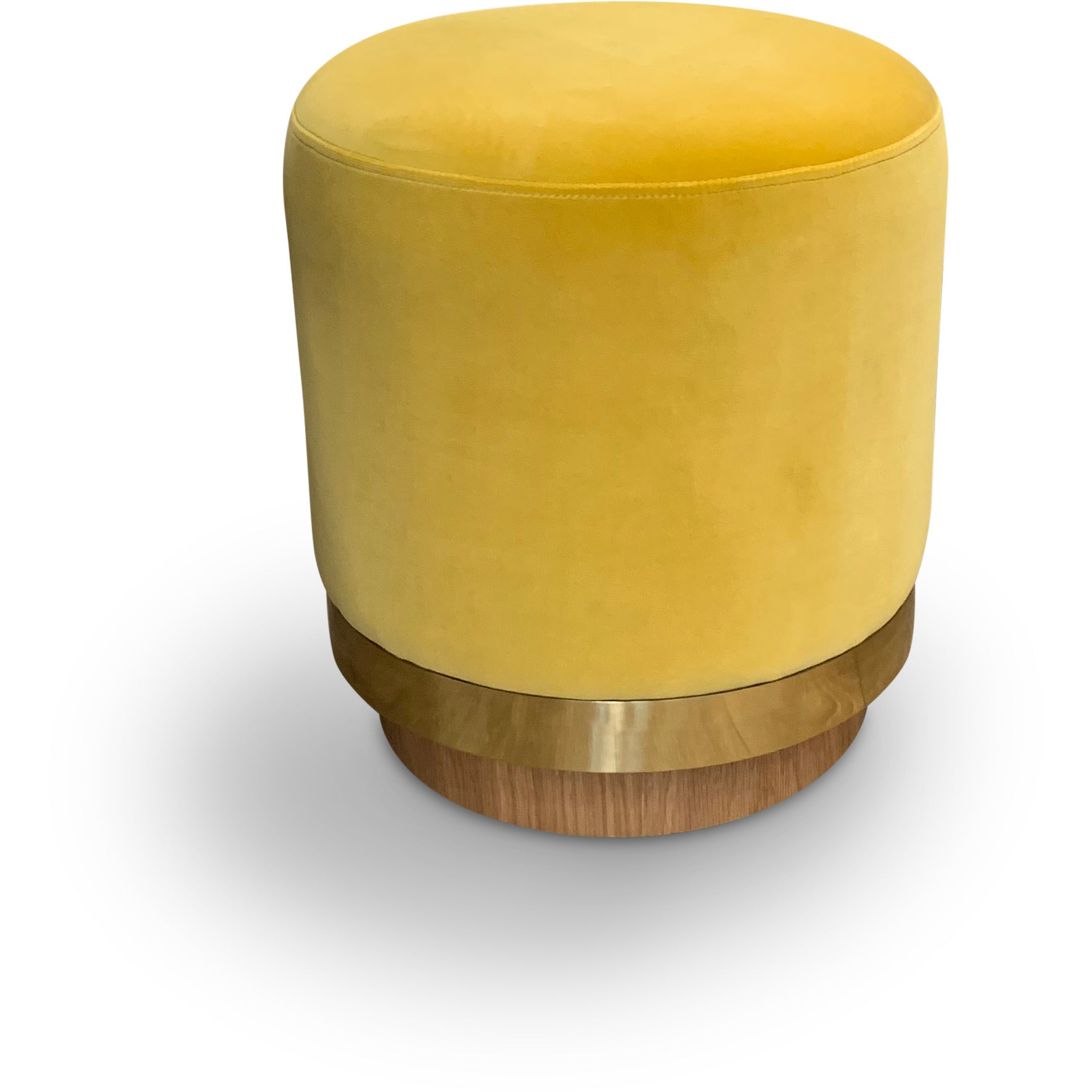 "Velvet Stool with Gold and Wood Base 14"" dia. x 15.5"""