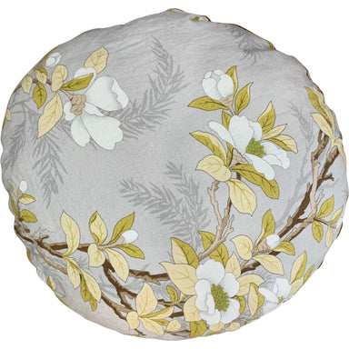 "Bed and Philosophy Round Cushion Floral Velvet and Linen 26"" diameter"