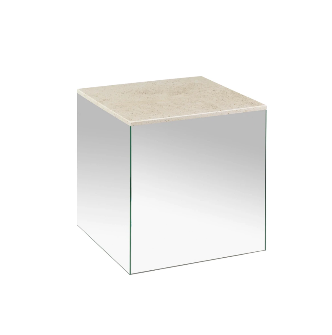 "Small Mirror Table With Mocca Marble Top 16.5"" Cube"