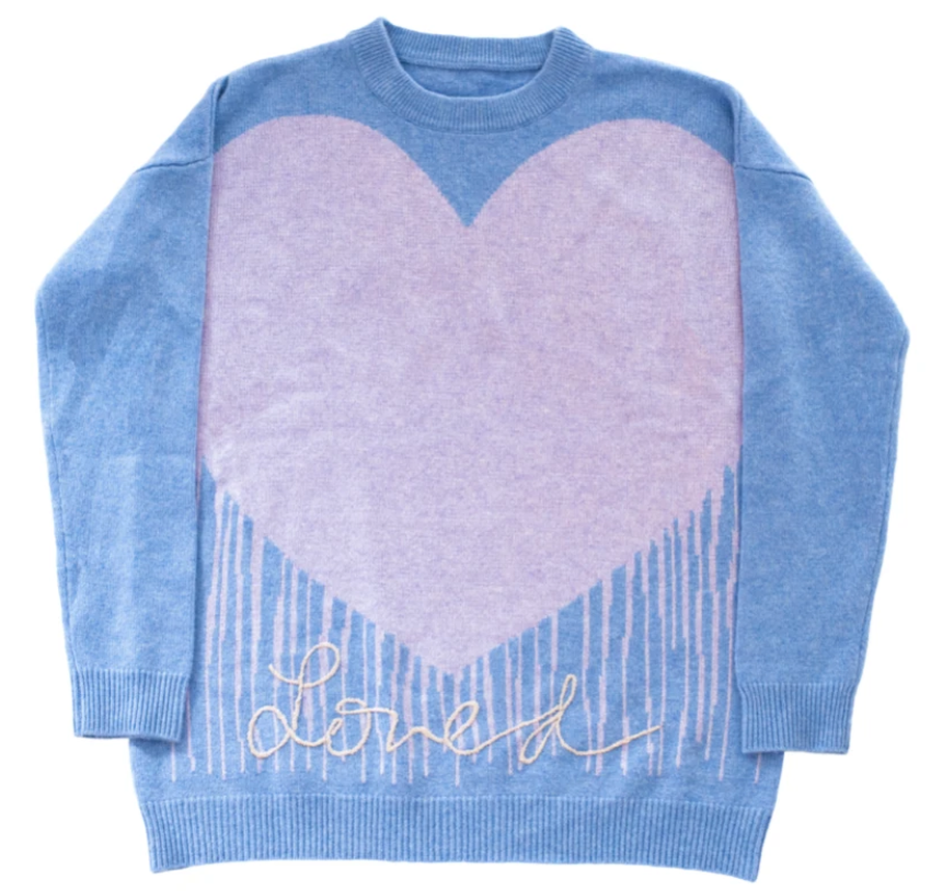 "100% Cashmere ""Loved"" Dripping Heart Sweater"