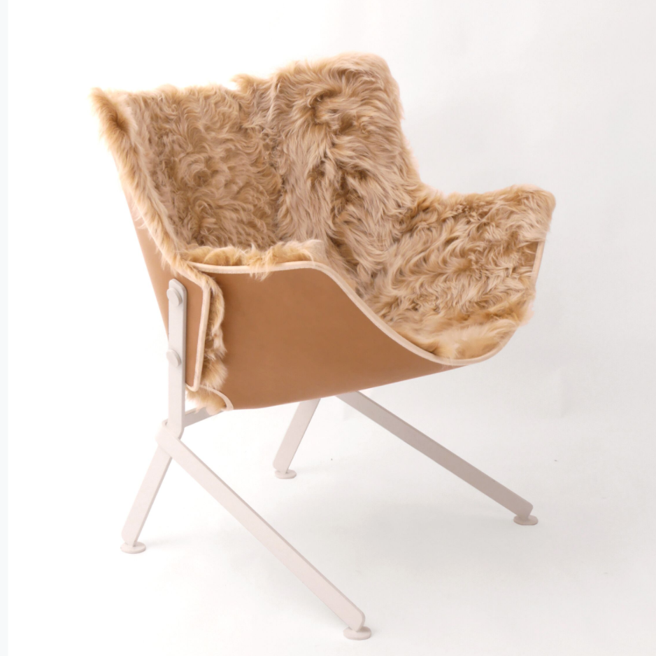 Armchair-Powder Coated Steel Base with Leather and Italian Sheepskin - Tan and White