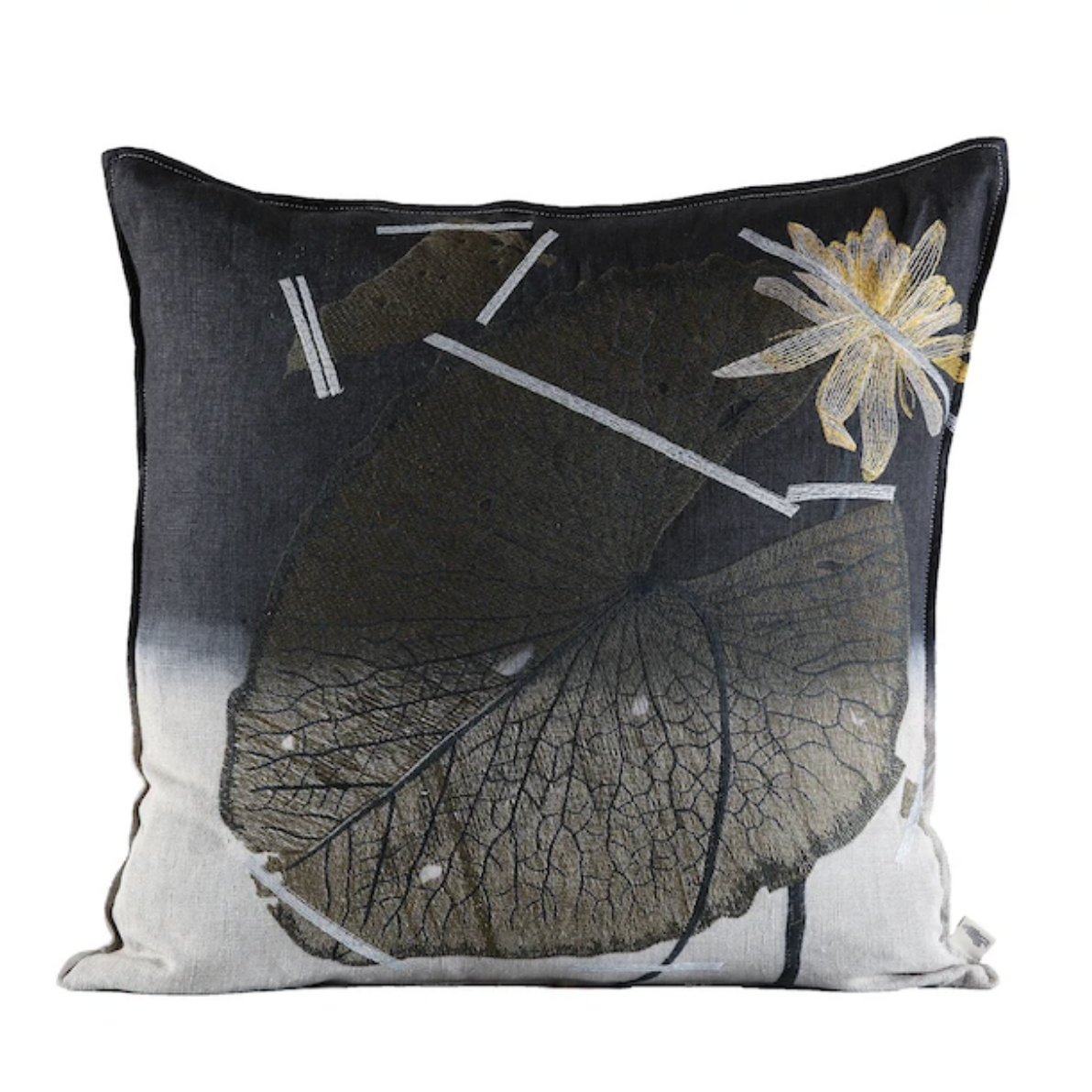 Mopipi Cushion Embroidered Charcoal Dip Dye 60x60cm