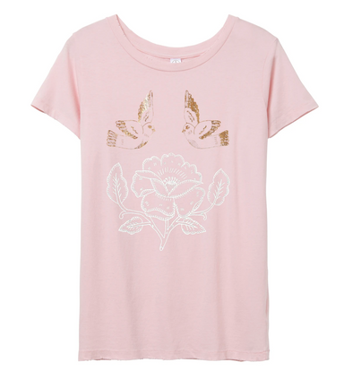 Lucky Fish Birds Rose Foil T-shirt