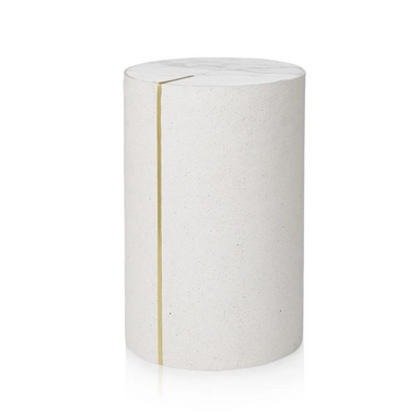 Lucie Kass Cylindric Side Table in White Marble and Rubber
