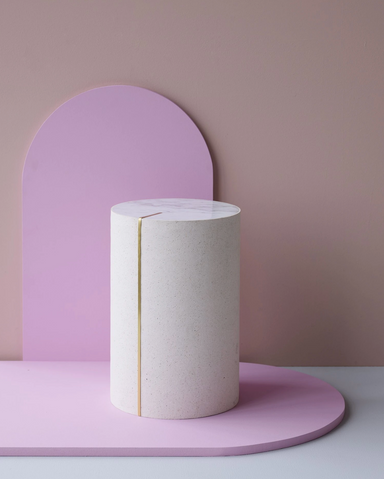 Cylindric Side Table in White Marble and Rubber