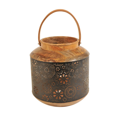 Schlittler Lantern, Round Made from Perforated Iron and Wood with a Leather Handle