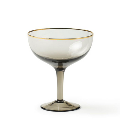 Bitossi Home Champagne Coupe Glass with Gold Rim
