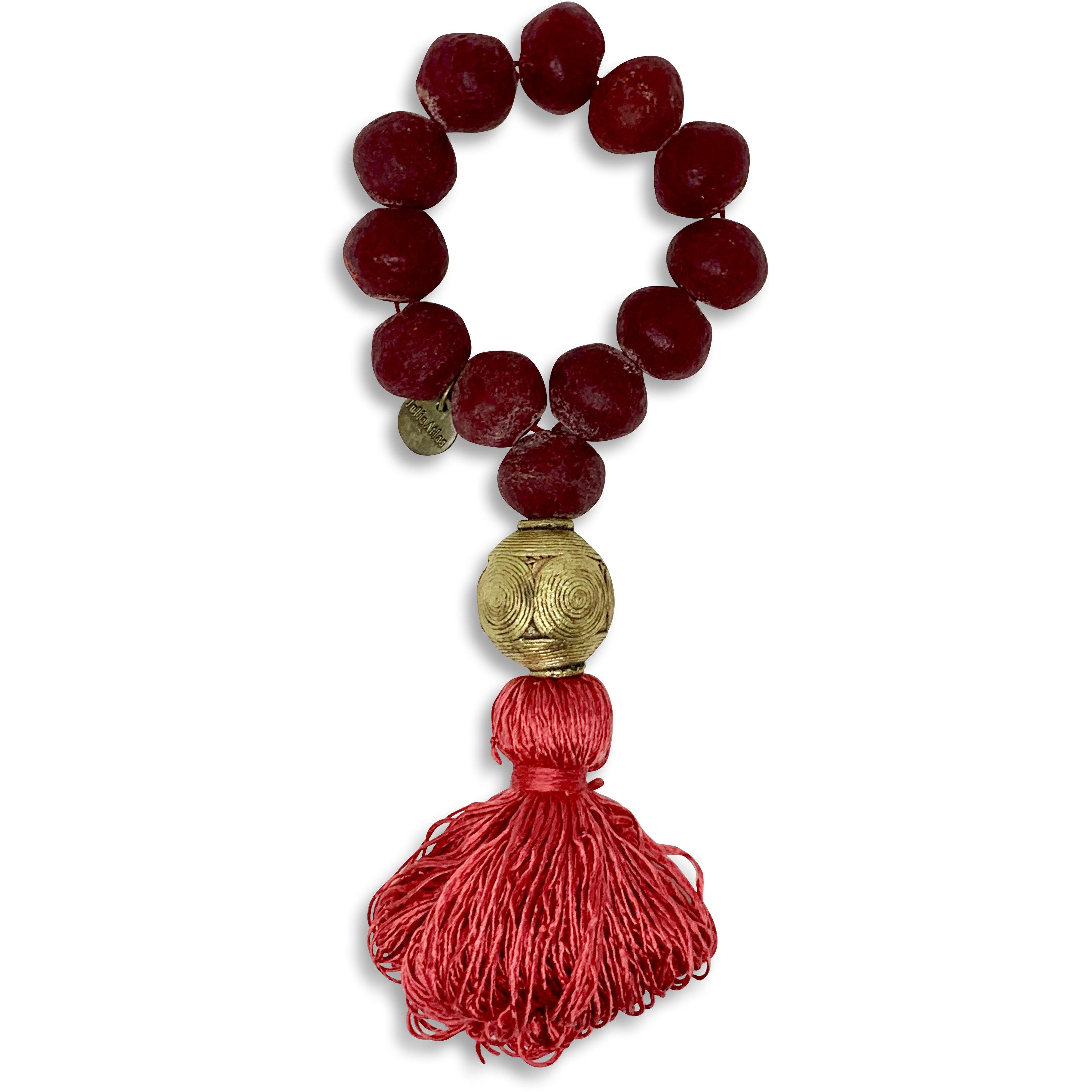 Red Recycled Glass Beaded Decorative Necklace with Bronze Anchor and Silk