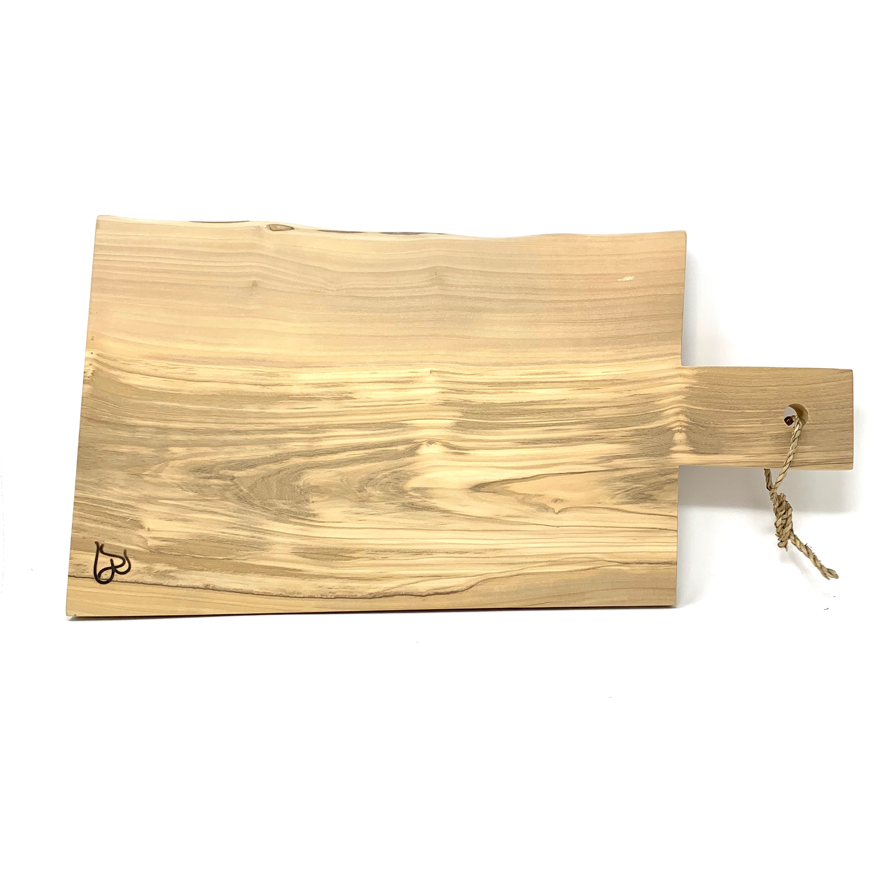 Square Olive Wood Cutting Board - Large with Handle