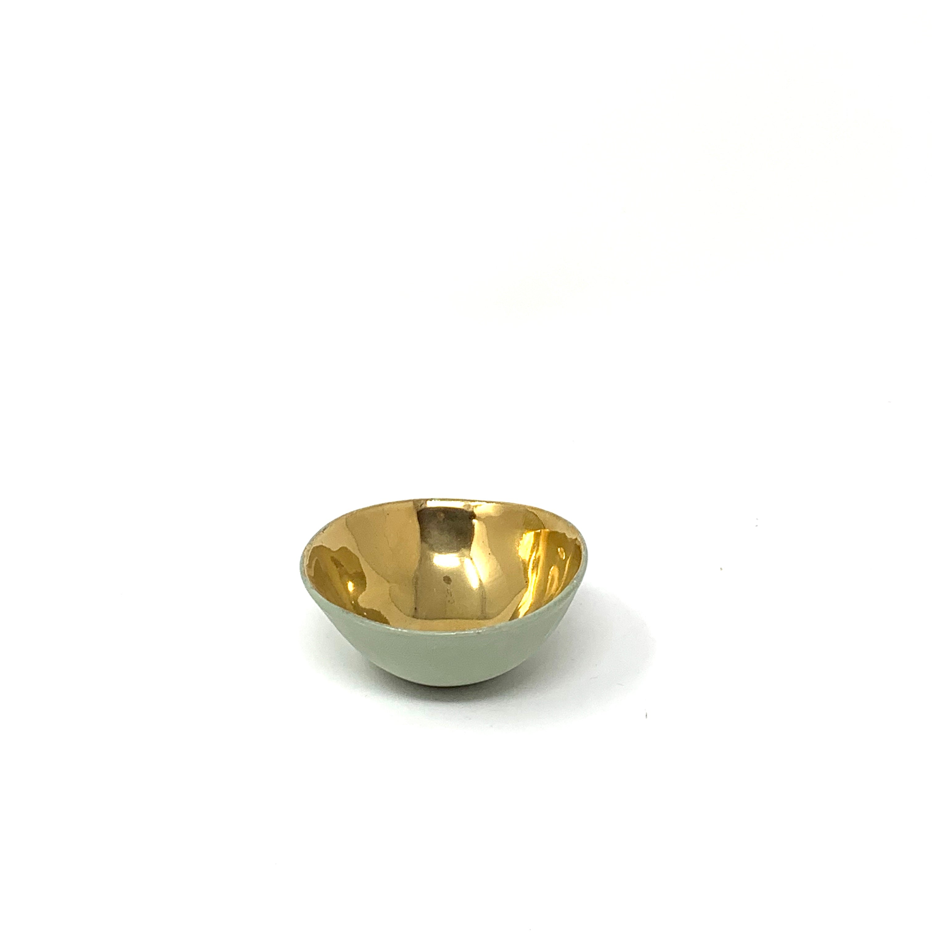"Ceramic Bowl Gold Interior and Matte Exterior 2.5"" Diameter"